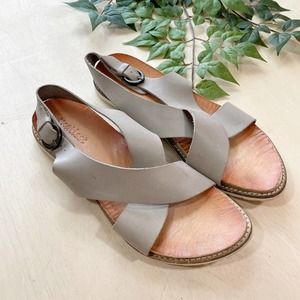 Matisse Taupe Leather Criss Cross Sandals Buckle